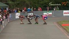MediaID=37652 - 37. Int. Speedskating Kriterium Gross-Gerau 2015 - Senior men, 500m sprint semifinal1